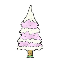 Comic cartoon snowy pink tree vector