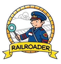 Funny railroader emblem profession abc series vector