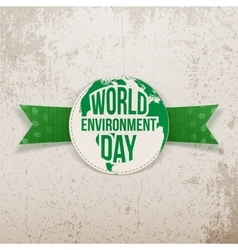 World environment day festive label and ribbon vector