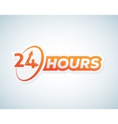 Twenty four hours open sticker sign or vector