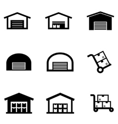 Black warehouse icon set vector