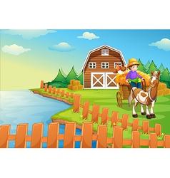 A boy at the farm vector
