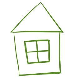 A green colored house vector
