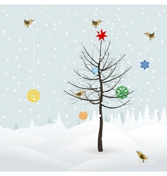 birds decorate christmas tree vector image vector image