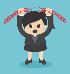 Business woman breaking metal chain with hands vector