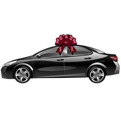 Car with a bow as a gift vector