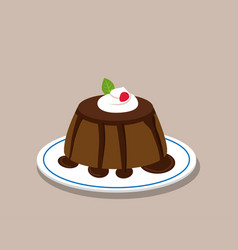 chocolate pudding on white plate vector image vector image
