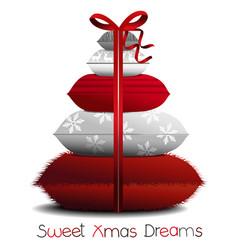 Christmas pillows tree vector