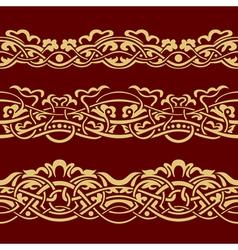 Collection of gold floral seamless border design e vector image vector image