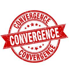 Convergence round grunge ribbon stamp vector