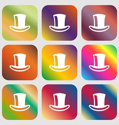 Cylinder hat icon nine buttons with bright vector