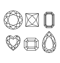 Diamonds wireframe on white background vector image