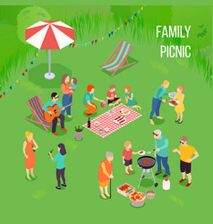family picnic isometric vector image
