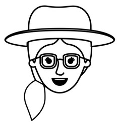 Female face with hat and glasses and pigtail hair vector