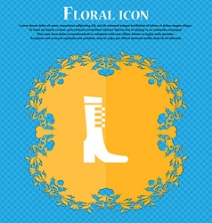 Female fall and winter shoe boot icon sign floral vector