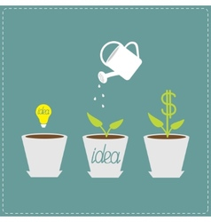 Financial growth concept idea bulb seed watering vector