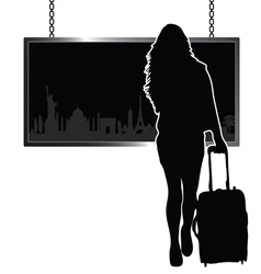 Girl travel with famous monument vector