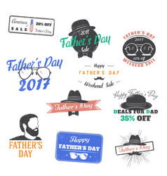 happy father s day greeting a set of nine black vector image