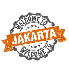 jakarta round ribbon seal vector image vector image