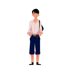 japanese teenage schoolboy in typical uniform vector image vector image