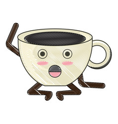 Kawaii coffee mug icon vector