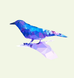 low polygonal of blue bird on light green vector image vector image