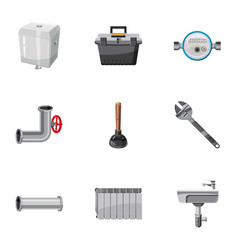 Plumbing icons set cartoon style vector