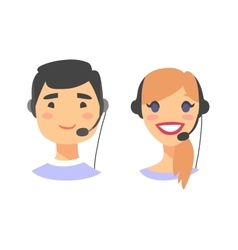 Portrait of happy smiling customer support phone vector image