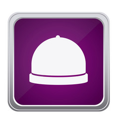 Purple emblem catering icon vector