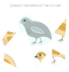Puzzle game for chldren quail vector