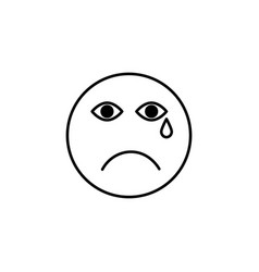 sad cry emoticon vector image vector image