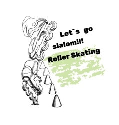 set for Roller Skates with text Isolated logo vector image