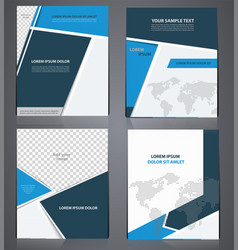 set of blue business brochures in one style vector image vector image