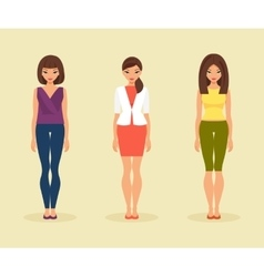 Set of girls in their everyday clothes vector