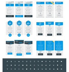Set of Pricing Table Design Templates for Websites vector image