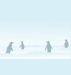 silhouette penguin on snow scenery vector image
