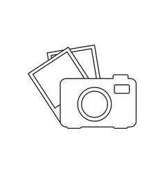 Silhouette tech digital camera with set photo vector