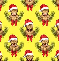 Sketch monkey in Santas hat vector image vector image