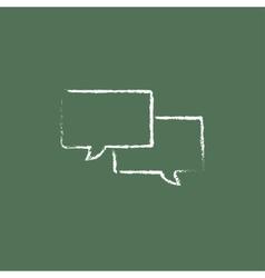 Speech square icon drawn in chalk vector