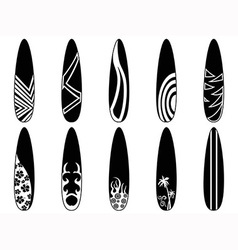surfboard icons vector image vector image
