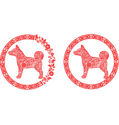 traditional chinese paper cut zodiac sign - dog vector image