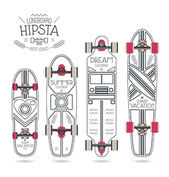 Trendy print on a longboard vector