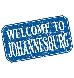 Welcome to johannesburg blue square grunge stamp vector