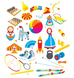 Toys and sporting accessories vector