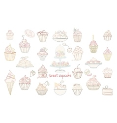 Hand drawn set of doodle style cupcakes vector image