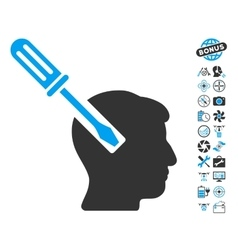 Head screwdriver tuning icon with copter tools vector