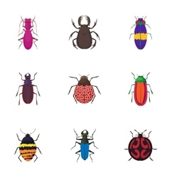 Crawling beetles icons set cartoon style vector