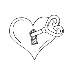 Heart-shaped lock with key vector image