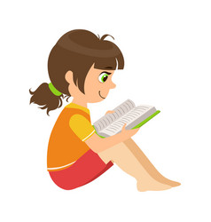Girl sitting on the floor reading a book part of vector