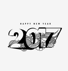 Happy new year 2017 text style with abstract vector